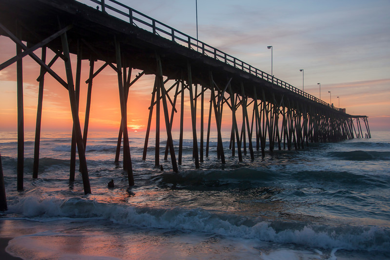 Kure Beach Pier at sunrise, North Carolina
