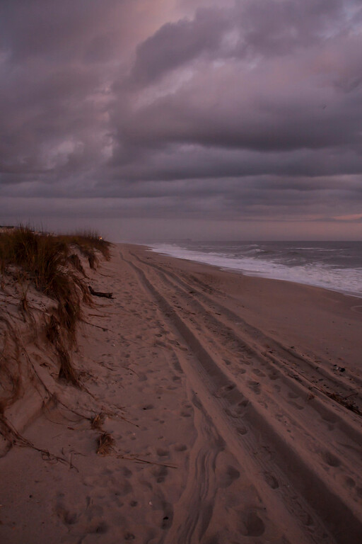 Sometimes, the undulating clouds, beach and dunes make for an interesting composition.  Kure Beach, North Carolina.