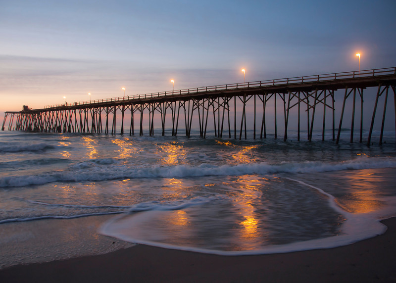 Sunrise at Kure Beach Pier, Kure Beach, North Carolina.