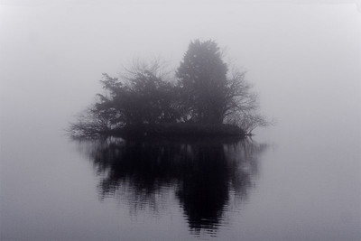 indian pond, lake, pond, island, fog, foggy, water,