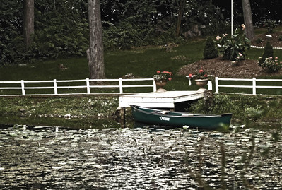 Indian Pond, row boat, green, canoe, dock, Orange Ct., white fence, lilly pads, lake,