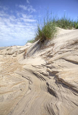 """Pea Island National Wildlife Refuge just south of the bonner bridge. This Dune was cut by the 60mph winds from an offshore storm. The """"carved  sand"""" is capture here."""