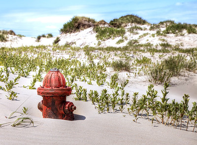 Remains of a fire hydrant behind the abandoned coast guard station on Pea Island National Wildlife Reserve.
