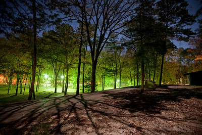 Night shot at Beaver's Bend State Park. A full moon and clear skies along with an abundance of artificial lighting and long exposures produce some interesting nightscapes.
