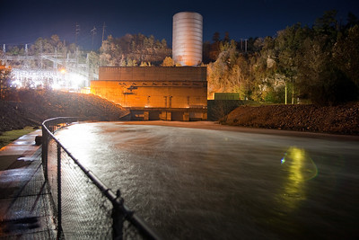 Night shot at Beaver's Bend State Park. A full moon and clear skies along with an abundance of artificial lighting and long exposures produce some interesting nightscapes. This one is of the Broken Bow hydroelectic plant.