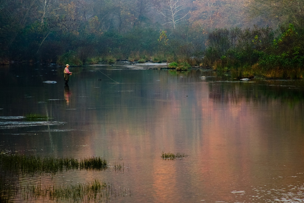 Fishing in the streams at Beaver's Bend State Park. Captured early in the morning in the fall. This is one of favorite shots from this area.