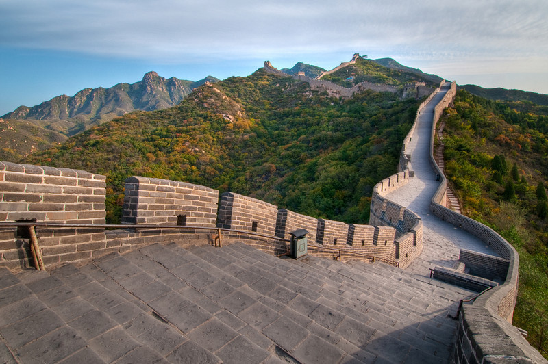 The Great Wall.  Badaling Section.  For my visit to Beijing, I had a fantastic guide who managed to get me access to the Great Wall BEFORE it opened to the public!   He asked me why I wanted to leave so early?!   Now he knows why!  This is one of the most visited and popular sections of the wall to visit and I am glad I was able to enjoy it with NO ONE THERE!  This is the way a treasure like this is supposed to be enjoyed!