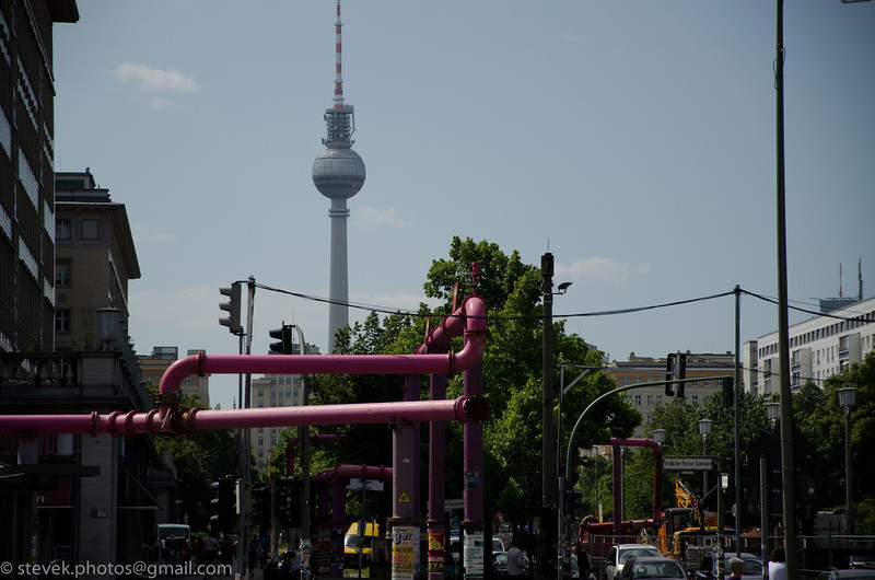 View of the Fernsehturm from Karl-Marz-Allee