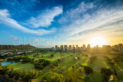 Ala Wai Golf Course Sunset