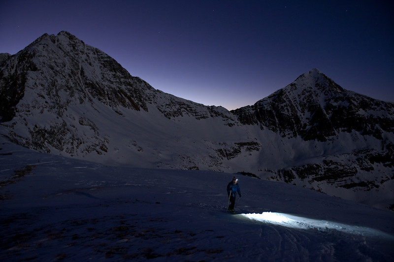 Skiing up to Scarps Ridge in the moonlight