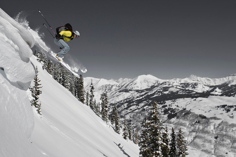 Alison Gannett flying in the Elks, Crested Butte backcountry.