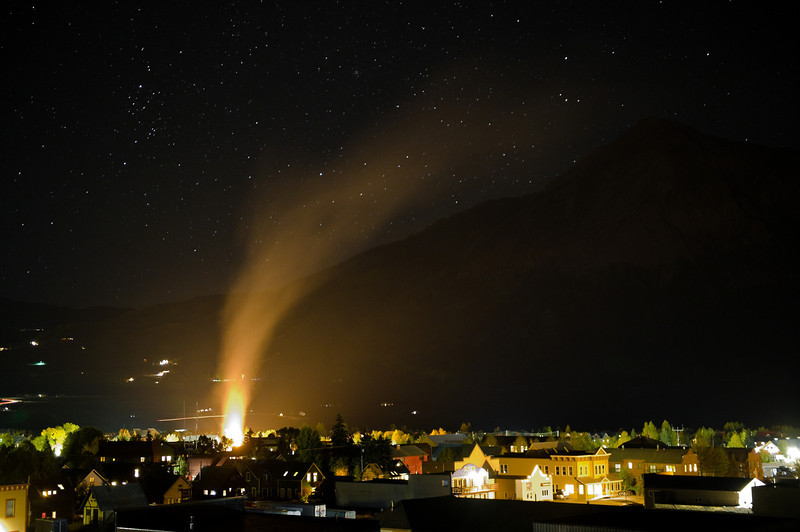 The Vinotok Fire burns the bad vibes into the fall night in Crested Butte.