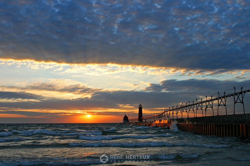 Grand Haven Lighthouse sunset, Grand Haven, MI