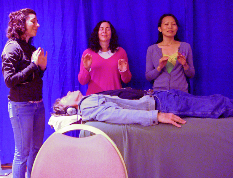 Reiki Healing at Los Angeles Health Expo - that's not me on the table