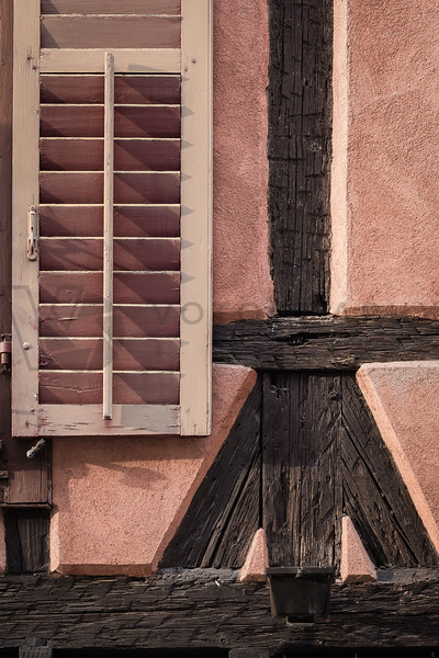 Half-Timbered House w/ Window Shutter, Alsace, France