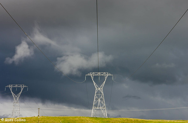 Power transmission lines crossing the Desert Road, near Rangipo