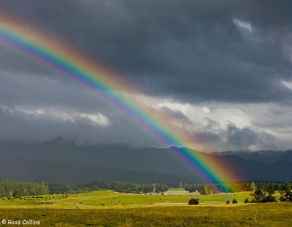 Rainbow over farm land alongside the Desert Road, near Rangipo