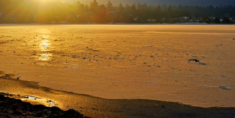 Sunrise on frozen Big Bear Lake