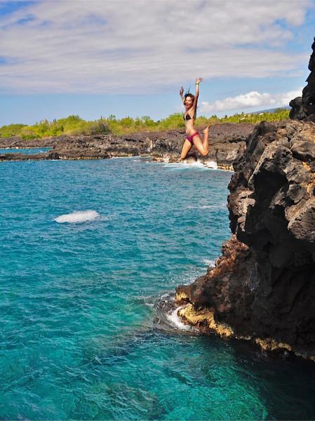 """Cliff Jumper, """"End Of The World"""", Kuamo'o Bay, North Kona, Hawaii"""