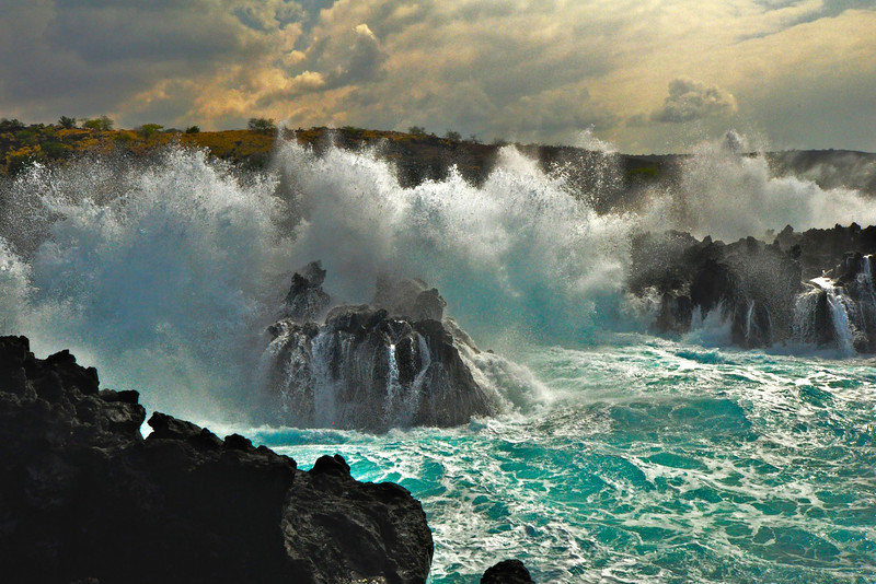 Surf, Kuamo'o Bay, Keauhou, North Kona, Big Island, Hawaii