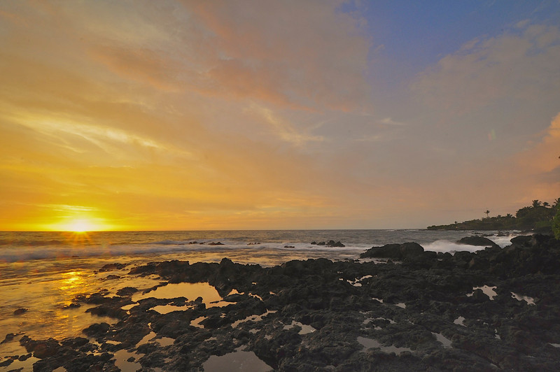 Pahoehoe Beach Park Sunset, Kona Coast, Big Island, Hawaii.