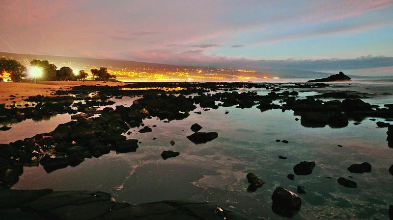 Kailua Town Sunset, from Old Airport Beach Sunset, Kona Coast, Big Island, Hawaii