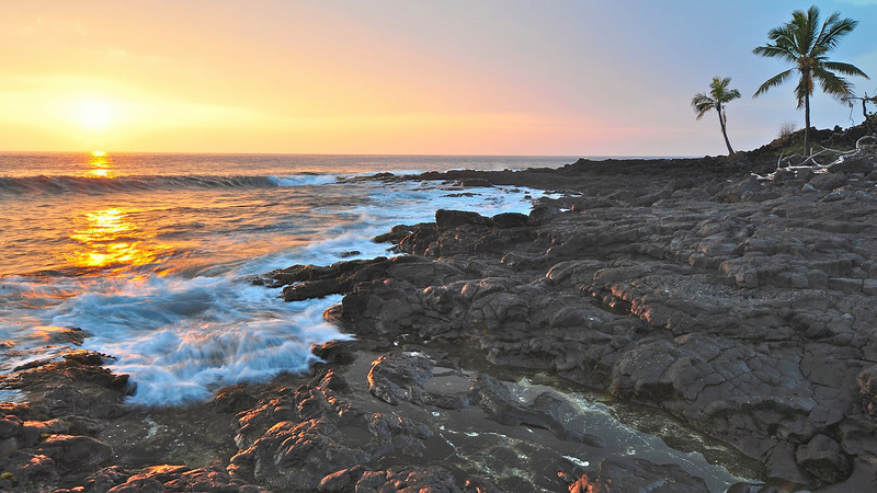 Sunset, Kailua Bay, North Kona, Big Island, Hawaii