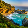 """""""McWay Falls at Sunset with Palm Tree"""" D818858 Big Sur, Northern California"""