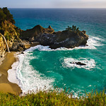 McWay Falls is one of those hidden California treasures located thirty minutes south of Big Sur in Julia Pfeiffer Burns State Park.  This waterfall spills right into the ocean surrounded by this private secluded beach. The bright green water and white sands has many people think this is an image from Hawaii!   That beach makes you want to just get your chair, drinks and take out from Mike's Cafe and sit right down by the waterfall.  Another great place to be on a Friday afternoon.