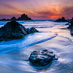 """Coastal Sunset"" This is a work in progress! Captured at Julia Pfeiffer Burns State Park near Big Sur at sunset. This is one of my favorite beaches to visit and luckily not too many people know this location away from some of the public spots. Not exactly giant seastacks like you get in Oregon, but still really nice! Enjoy! — at Julia Pfeiffer Burns State Park."