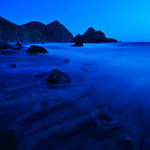 Dusk in Big Sur.    A beautiful evening in Big Sur down at Julia Pfeiffer State beach.  We continued shooting until it was quite dark.  It is really amazing how the sensors interpret dusk as you keep shooing. For someone who really likes blue tones, this is appealing to me.