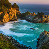 """""""McWay Falls at Dusk with Palm Tree"""" D818884 Big Sur, Northern California"""