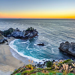"""McWay Falls at Sunset"" I managed to get down to McWay Falls at Sunset after shooting around Big Sur. This is a another great place to visit along the Northern California coastline - I often find folks make it to Big Sur but don't drive the extra 30 minutes to visit this awesome falls!!! This is an updated version of this image that I worked on for a client. Captured with the Nikon D3S and Nikon 14-24mm courtesy of BorrowLenses.com Copyright John Harrison Photography — at McWay Falls, Big Sur, California Coastline. Fine Art Photography for Collectors, Healthcare and Corporations. Perfect for Executive Briefing Centers. This image looks amazing on Metal, HD Acrylic Flex or a Gicleé Gallery-wrap canvas up to 40"" x 60"" or larger! With John's style of images, you don't know if this is a painting or a photograph - some have compared him to a Thomas Kinkade"" of Nature and Landscape Photography."