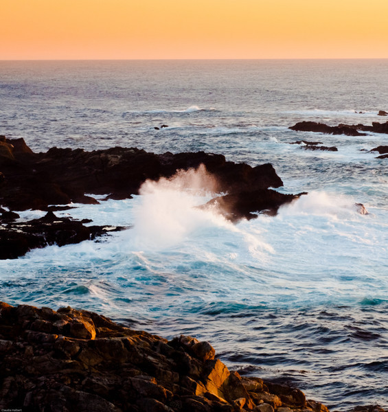 Sunset from Point Lobos State Park, North Trail. An iconic capture of rocks and crashing waves.