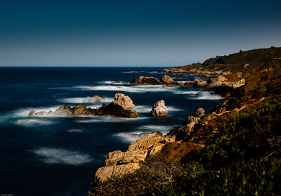 Night photography, Garapata cliffs. Shadows are cast by the full moon rising in the east.