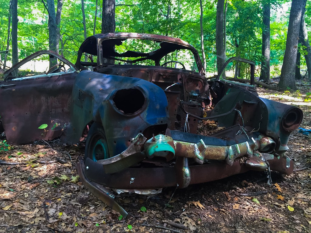 1953-54 Chevy Bel Air. Abandoned near the power lines in the Cowassock Woods.