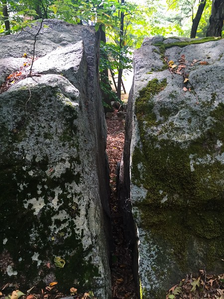 Ashland Town Forest, Witch Caves, The Lemon Squeeze (aka Lightning Rock). I was once able to fit through here when I was a kid.