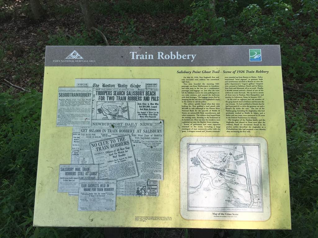 Salisbury Ghost Trail. New England's only train robbery happened along this trail in 1926. Gunmen made off with $65,000!