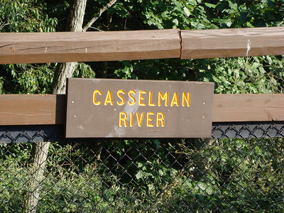 Sign on bridge over Casselman River just past Harnedsville.