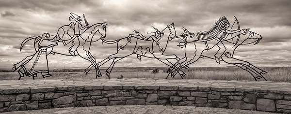 "Indian Memorial at Little Bighorn Battlefield National Monument - Montana.  The Indian Memorial was dedicated in 2003 and makes a thoughtful and moving contrast to the ""American"" monument.  This sculpture is just a part of it."
