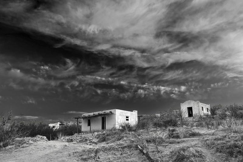Texas, El Camino del Rio, Big Bend Ranch State Park,Ruins, Black and White, Landscape, 德克萨斯, 大弯曲公园,黎明,黑白摄影, 风景
