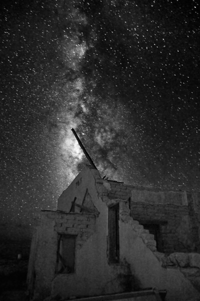 Texas, Ghost Town, Ruins, Terlingua, Milky Way, Galaxy, Dawn Twilight, Black and White, Landscape, 德克萨斯, 鬼城,废墟,银河,星空, 黎明, 风景, 黑白摄影