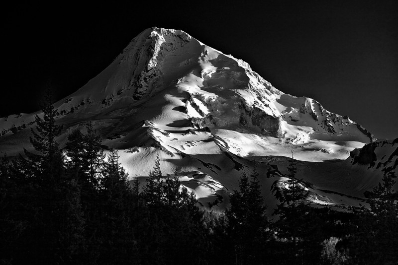 Oregon, Mount Hood, Sunset, Landscape, Black and Wite, 俄勒冈, 胡山, 日落, 风景,黑白摄影