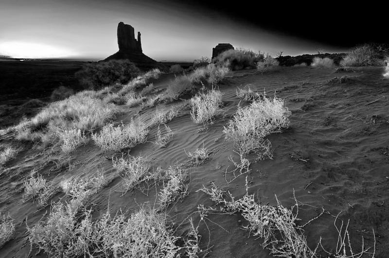 Arizona, Monument Valley, Sunrise, Dune Black White Landscape Art 亚利桑那 碑山谷 黑白摄影, 风景