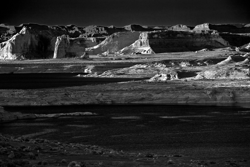 Arizona, Lake Powell, Glen Canyon, Sunset,  Black White, Landscape 亚利桑那, 黑白摄影, 沙漠 风景
