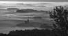 Pensylvania, Morrison Cove, Spring morning Sunrise, Fog Black White Landscape Art, 宾夕法尼亚 黑白摄影, 风景