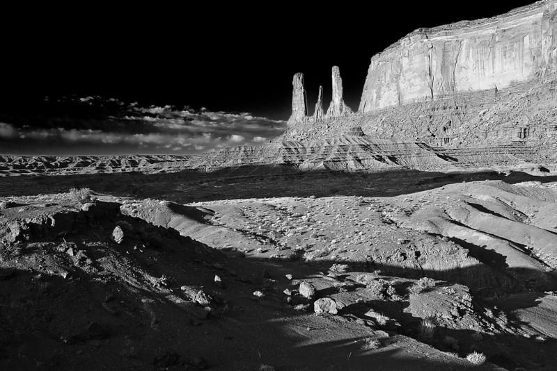 Arizona, Monument Valley Black White Landscape Art 亚利桑那 碑山谷 黑白摄影, 风景