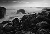 California, Northern Coastline, MacKerricher State Park, Sunrise Black White Landscape Art 加利福尼亚 海滩 黑白摄影, 风景