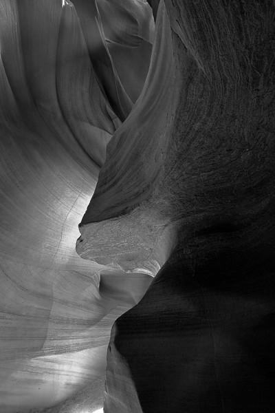 Antelope Canyon, Arizona, Black and White Landscape Art 亚利桑那 羚羊谷 黑白摄影, 风景