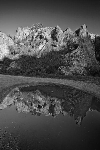 Arizona, Superstiton Wilderness, Reflection Black White Landscape Art 亚利桑那, 沙漠 黑白摄影, 风景